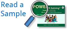 Read a sample of the POWER-Solving Curriculum image link-picture of the curriculum cover magnifying glass and text label